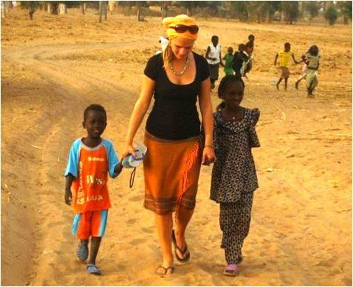 Girl with two Senegal kids