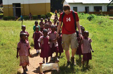 Tanzania students and local children