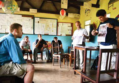 Tanzania Brian and Larry teaching to fellow classmates