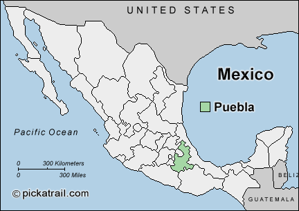 Map of mexico with Puebla highlighted