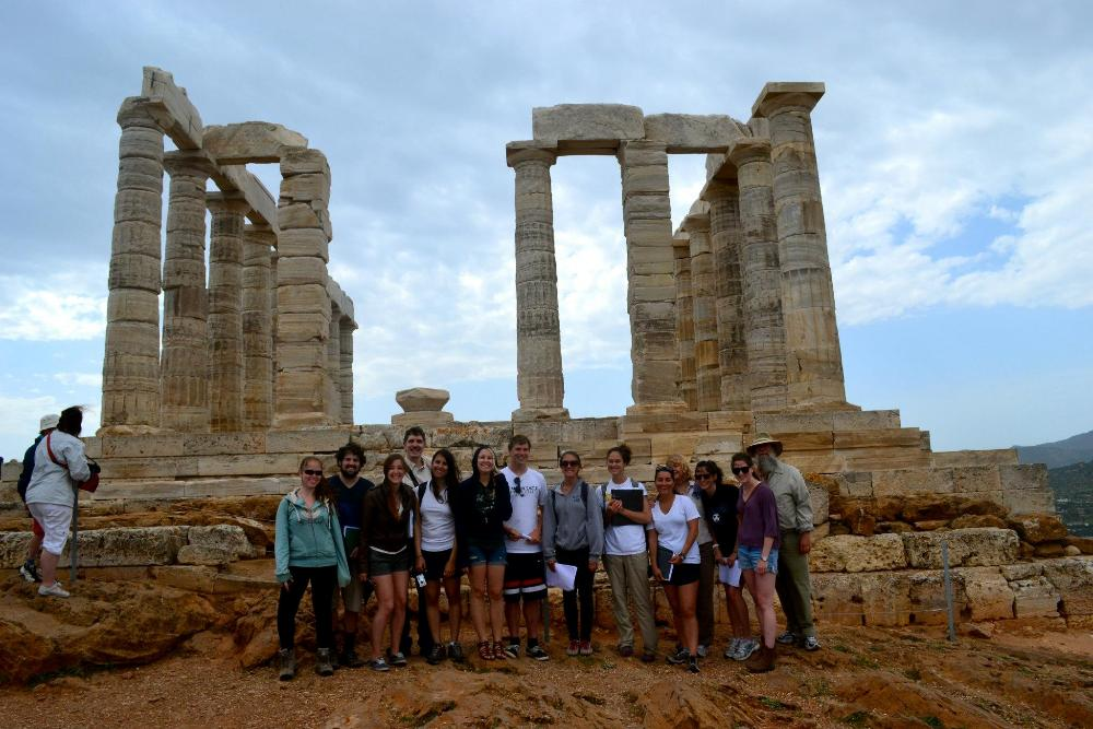 Athens Group in front of temple at Sounion in 2012