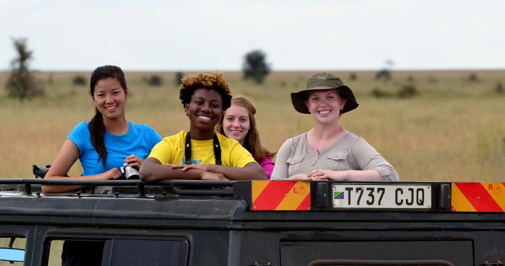 Four students in Jeep