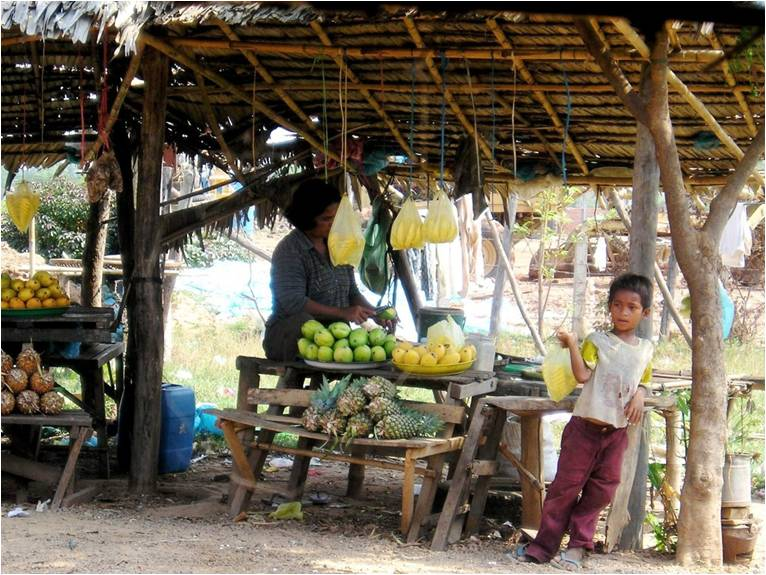Child standing beside produce stand
