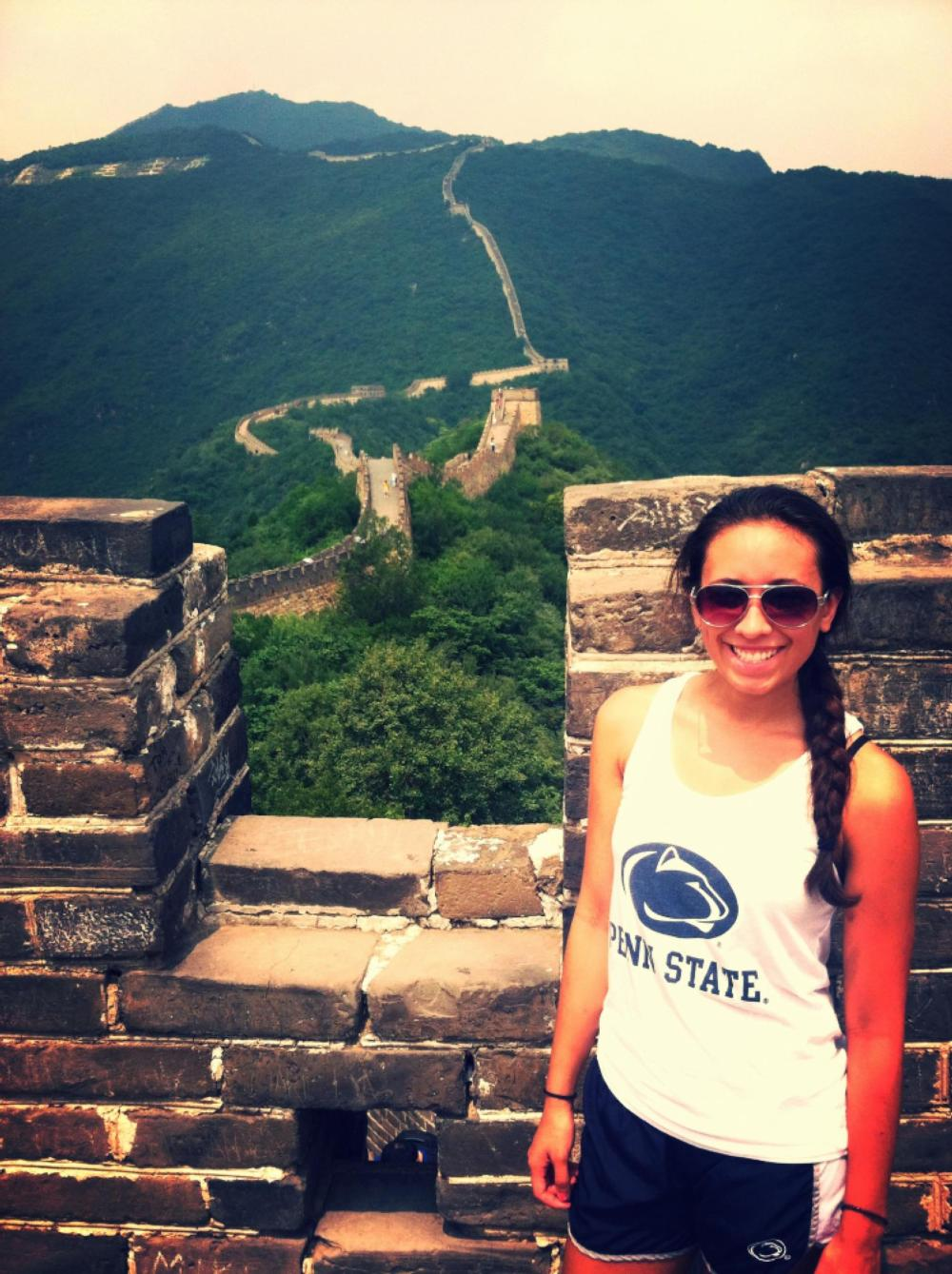 Penn State student at Great Wall