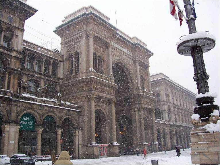 Galleria in the snow in Milan