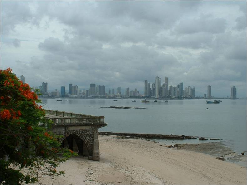 View of the city and water in Panama