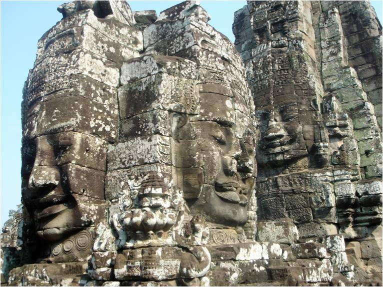 Angkor Wat faces carved in stone, Siem Reap