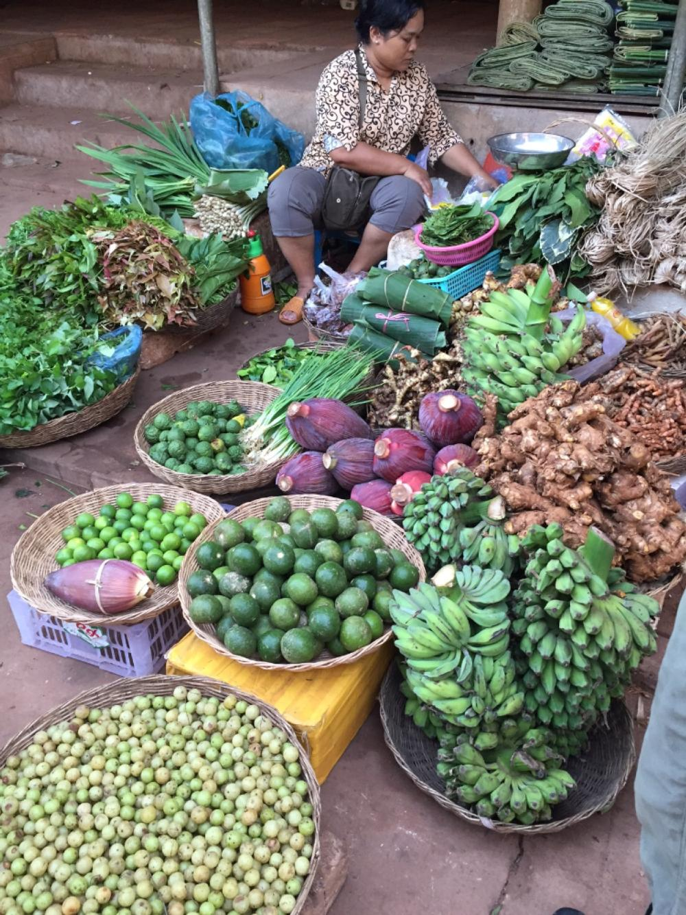Woman selling vegetables in market in Cambodia