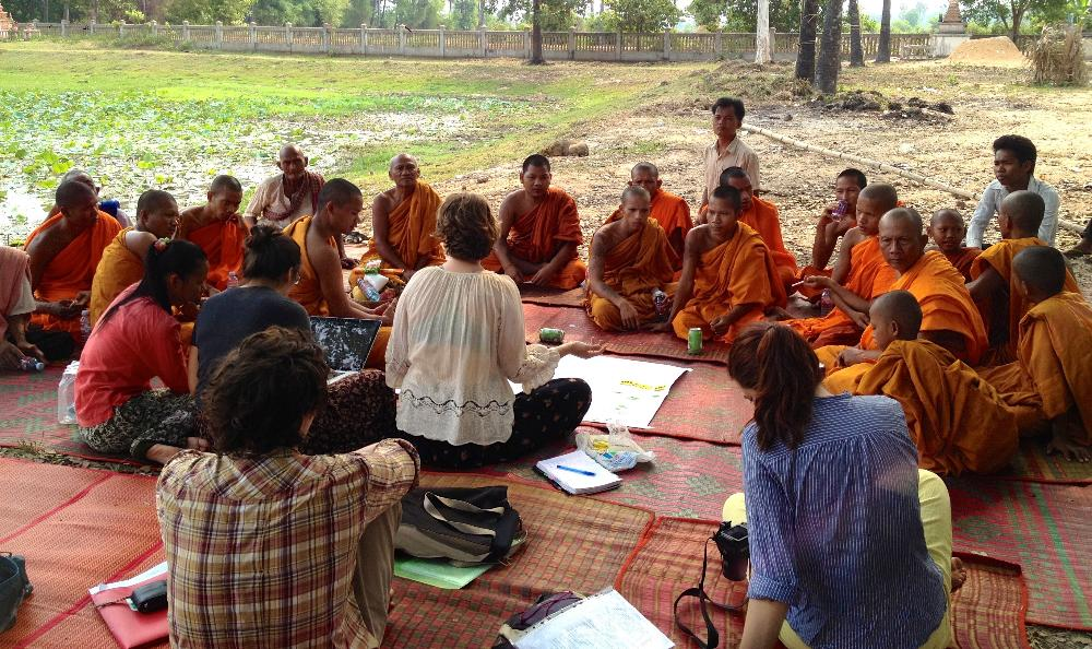 Students meeting with monks