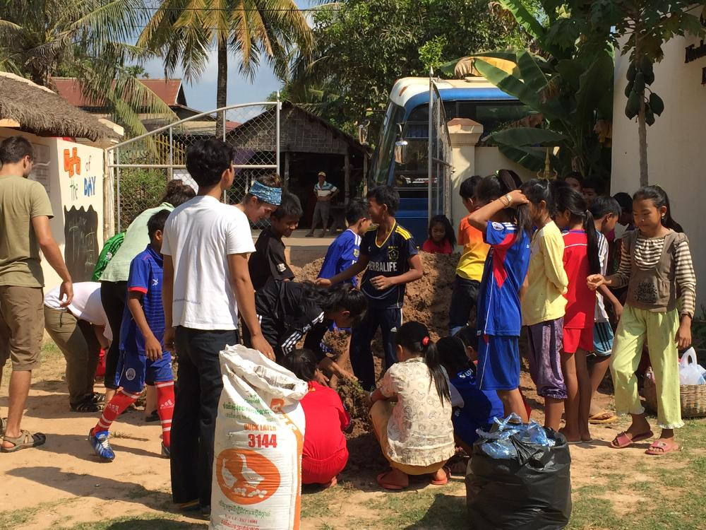 Students completing a community project in Cambodia