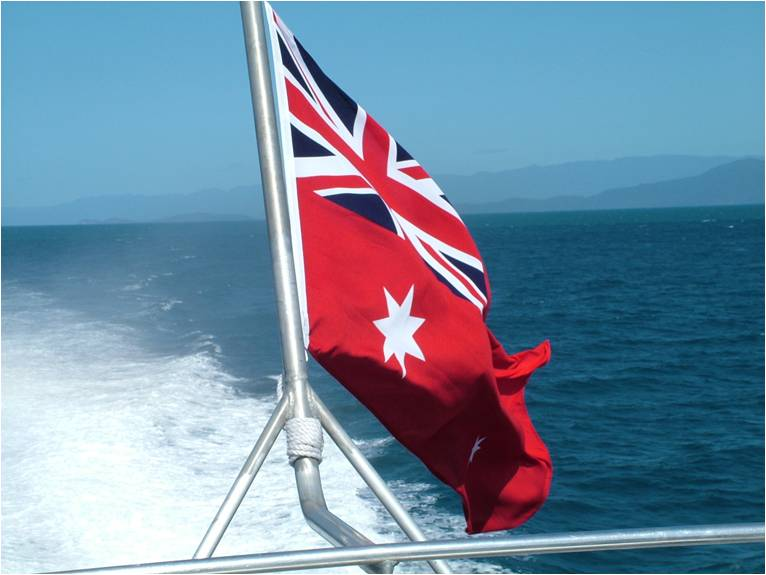 Australian Flags at Sea