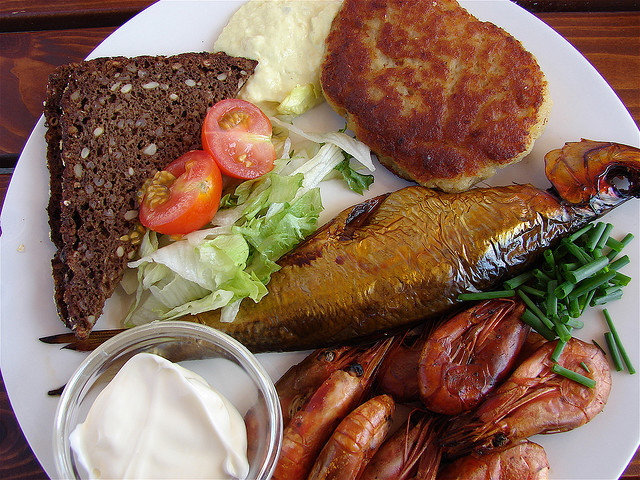 Danish lunch with fish