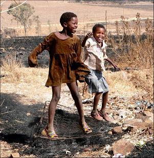 Two children playing outside in South Africa