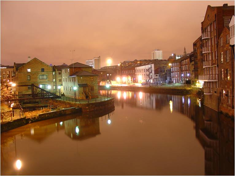 Leeds canal at night